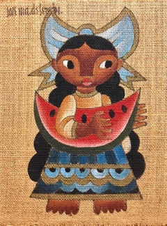 Folk Art Mexican Girl with Watermelon Oil Painting on Burlap