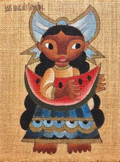 Folk Art Mexican Girl with Watermelon Oil Painting on Burlap