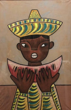 Mexican Modernist Painting Boy with Watermelon