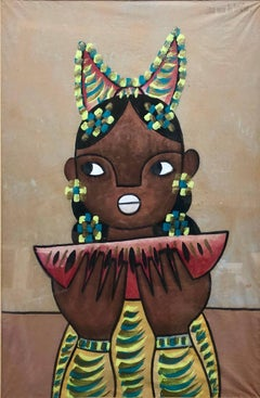 Mexican Modernist Painting Girl with Watermelon