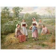 José Maria Jardines Oil on Canvas, Autumn Day