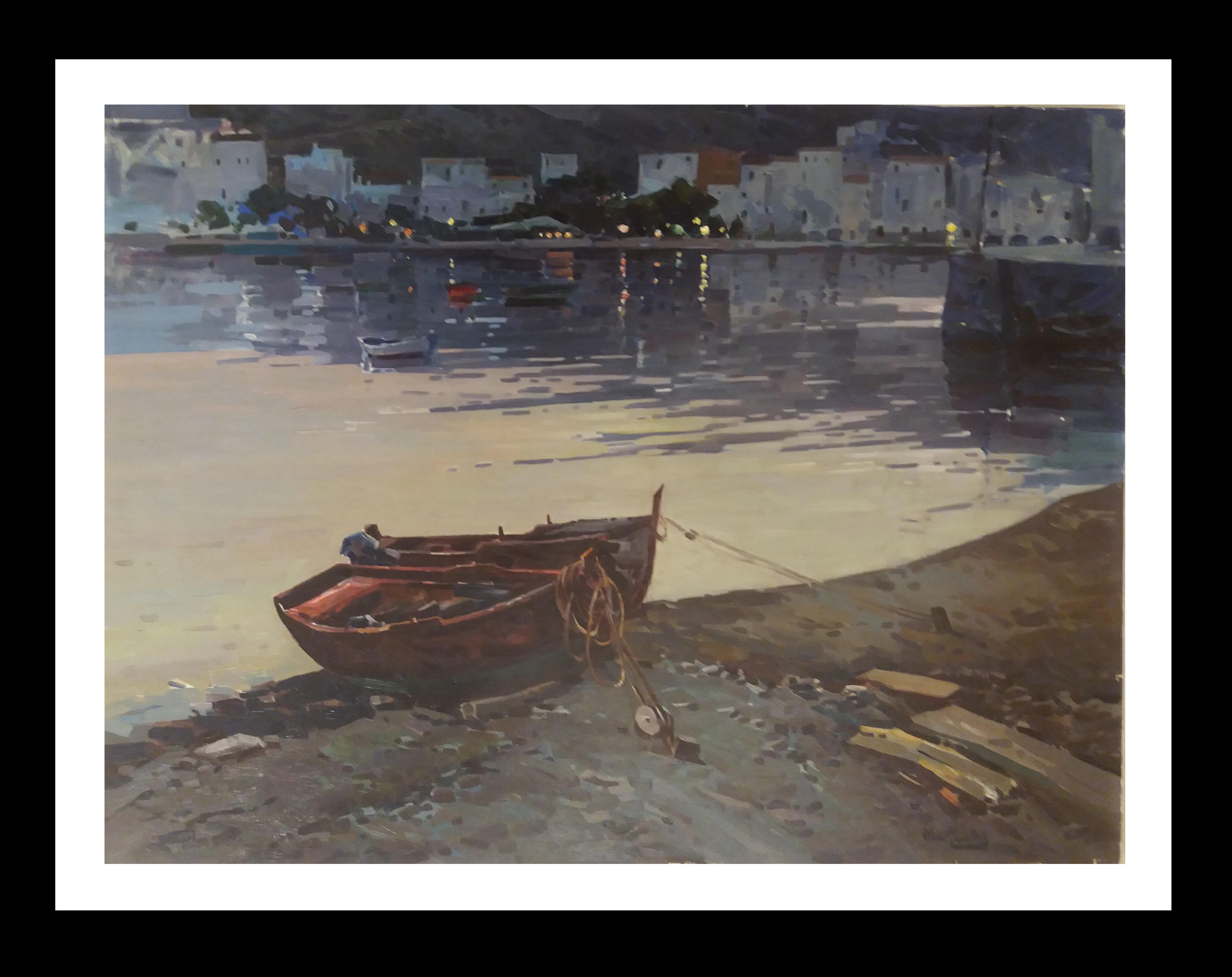 """ CADAQUES"" original realist acrylic canvas painting"