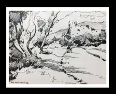 """"""" natural landscape"""" 1997 original ink painting"""