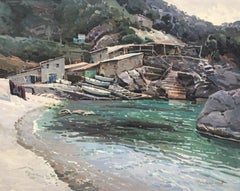 Deia Mallorca Spain seascape oil on canvas painting Deya Majorca