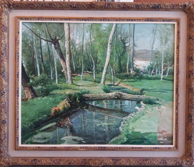 Olot. original oil canvas painting - Painting by José María Vila Cañellas