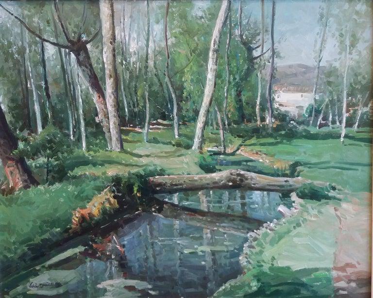 Olot. original oil canvas painting - Impressionist Painting by José María Vila Cañellas
