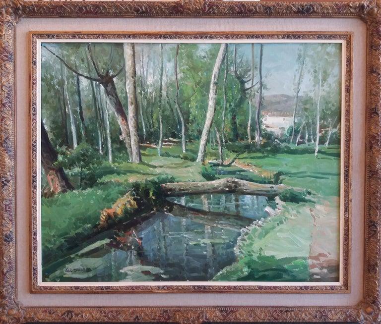 José María Vila Cañellas Figurative Painting - Olot. original oil canvas painting