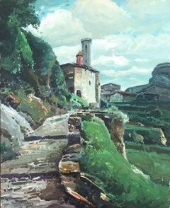 Rupit Spain landscape original oil on canvas painting