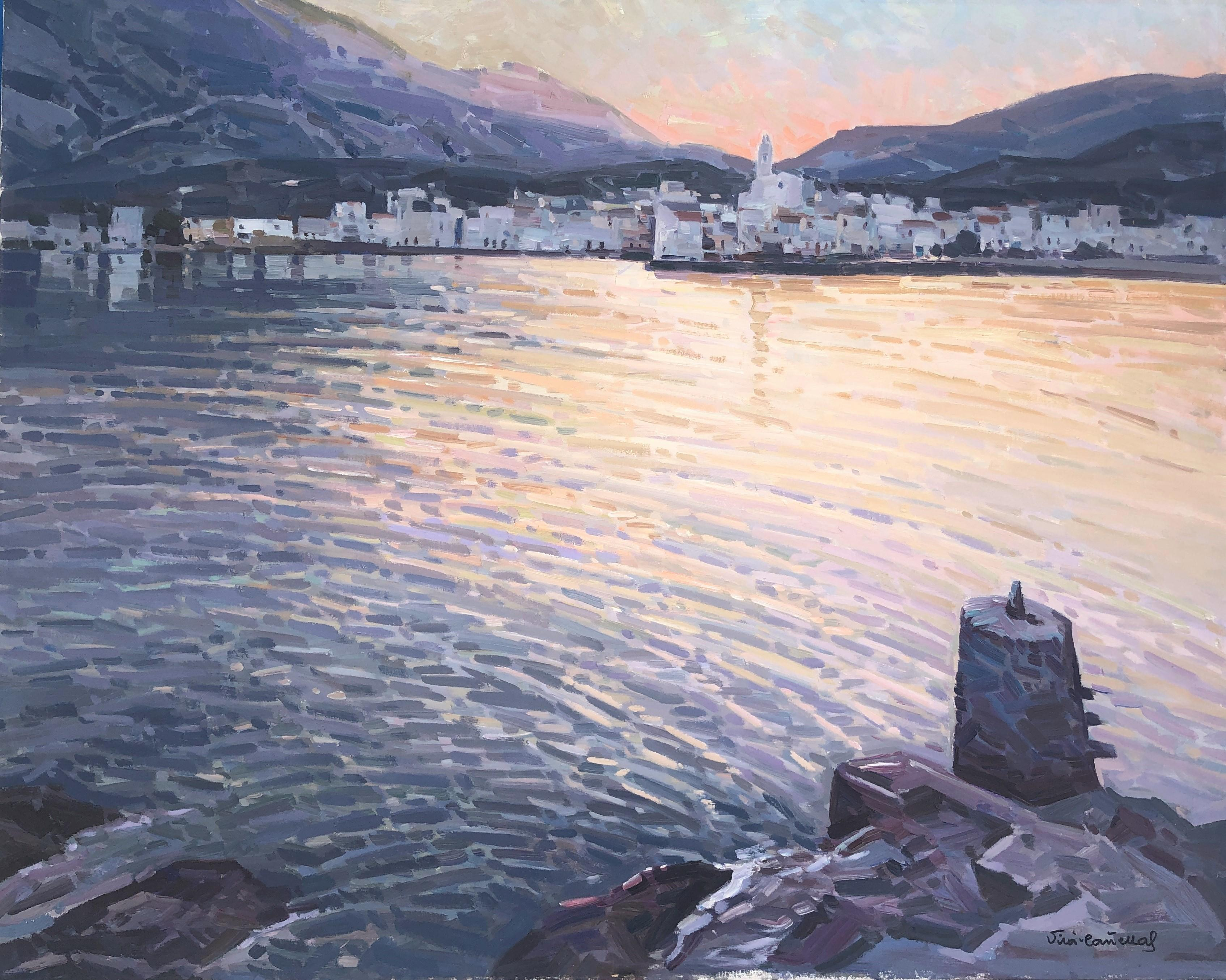 Sunset in Cadaques Spain seascape original oil on canvas painting