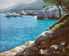 White rocks Mallorca Spain seascape oil on canvas painting