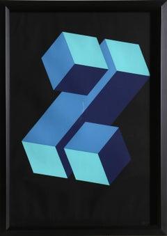 Blue Z, OP Art Silkscreen by Yturralde