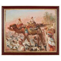 Antique Orientalist Oil on Board 'Desert Bedouin', by Spanish Artist Ortega