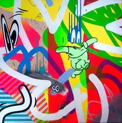 """Hombre Cohete"" Acrylic on Wood Panel,  by Contemporary Artist José Palacios"