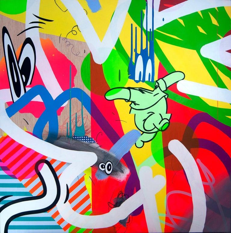"Jose Palacios Abstract Painting - ""Hombre Cohete"" Acrylic on Wood Panel,  by Contemporary Artist José Palacios"