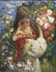 In the Garden - José Royo Oil painting on canvas Impressionist
