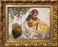 The Golden Shawl - José Royo Oil painting on canvas Impressionist