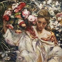 Valencia Garden - José Royo Oil painting on canvas Impressionist