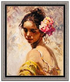 Jose Royo Original Color Serigraph on Board Female Portrait Signed La Perla Art