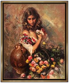 Jose Royo Sentimiento Large Color Serigraph On Board Female Portrait Signed Art