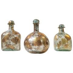 Jose Torres La Colleccion Glass and Gold Leaf Decanter Set, Mexico, 2000s