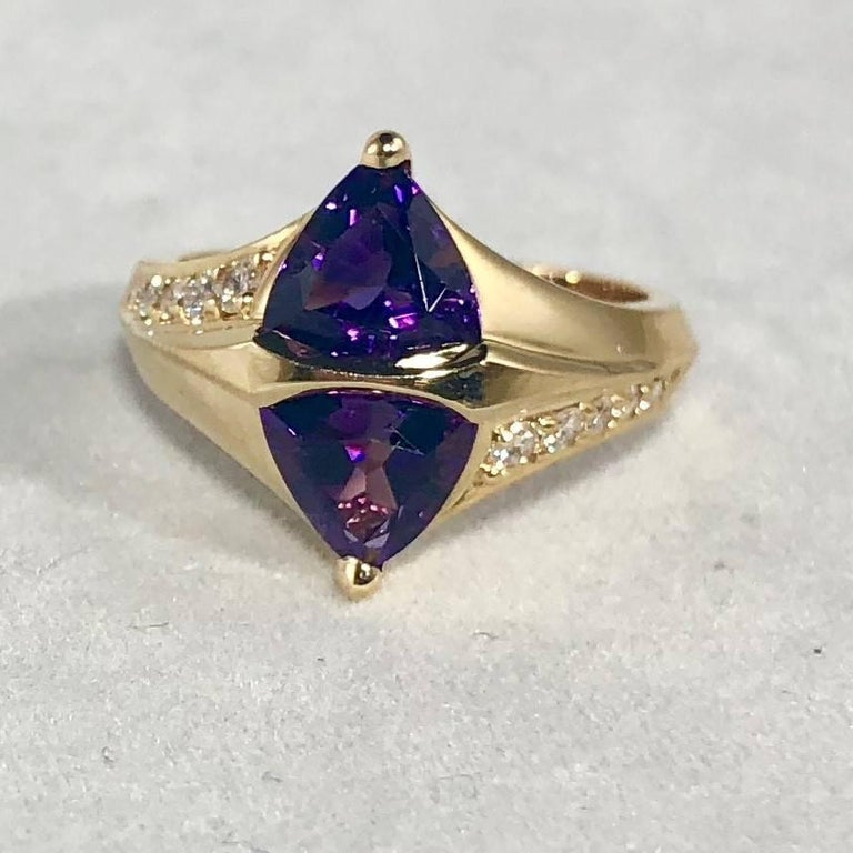 Contemporary Jose Trillos 18 Karat Amethyst and Diamond Cocktail Ring For Sale