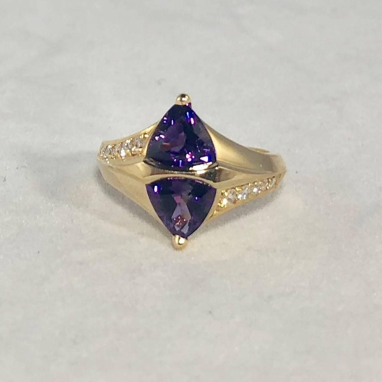 Trillion Cut Jose Trillos 18 Karat Amethyst and Diamond Cocktail Ring For Sale