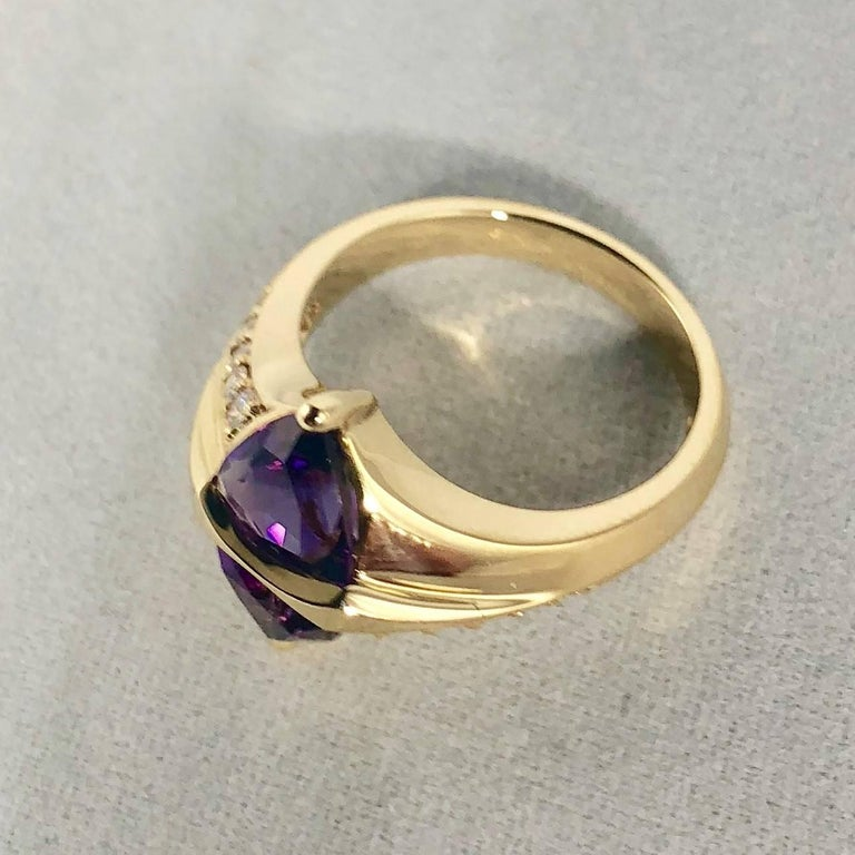 Women's Jose Trillos 18 Karat Amethyst and Diamond Cocktail Ring For Sale