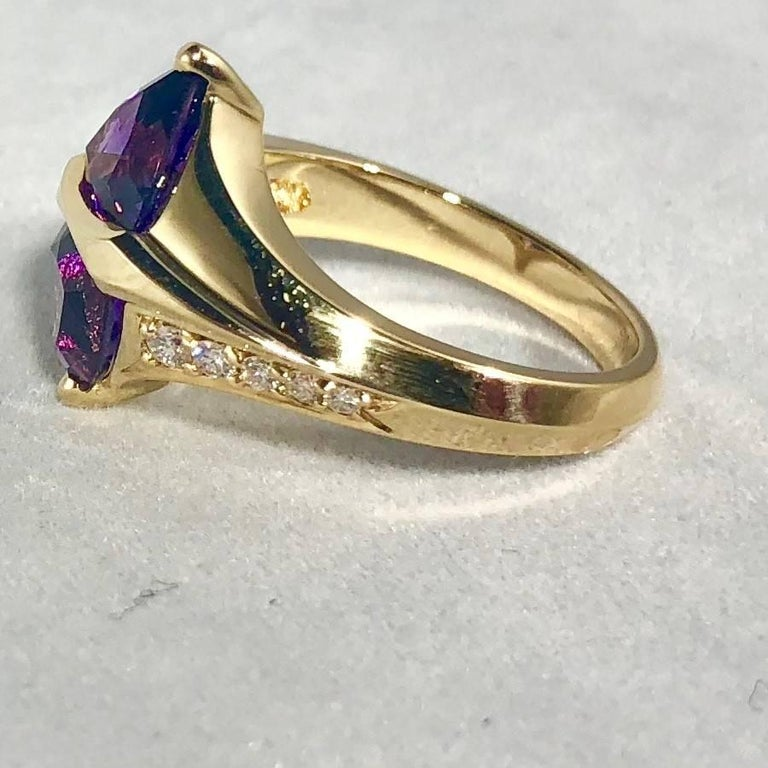 Jose Trillos 18 Karat Amethyst and Diamond Cocktail Ring For Sale 1
