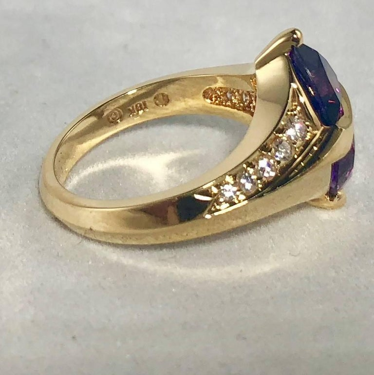 Jose Trillos 18 Karat Amethyst and Diamond Cocktail Ring For Sale 2