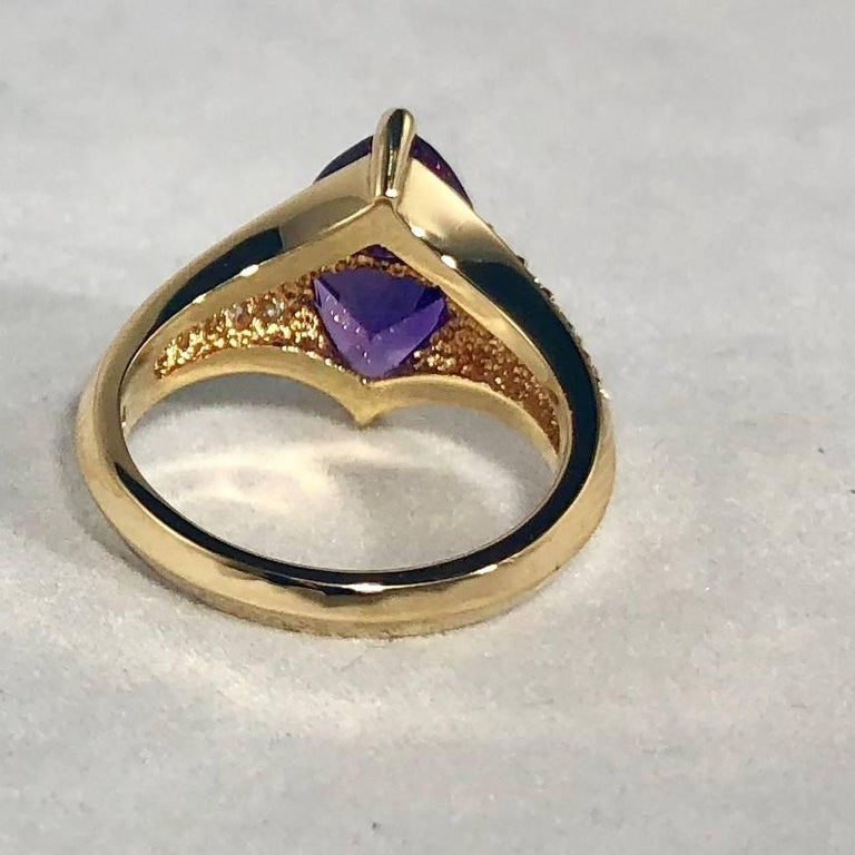 Jose Trillos 18 Karat Amethyst and Diamond Cocktail Ring For Sale 3