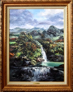 """Waterfalls In The Island of Oahu Hawaii""  Texas Palette Knife Artist"