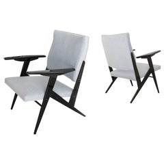 Jose Zanine Caldas Brazilian Pair of Armchairs Lacquered Wood Cream White Fabric