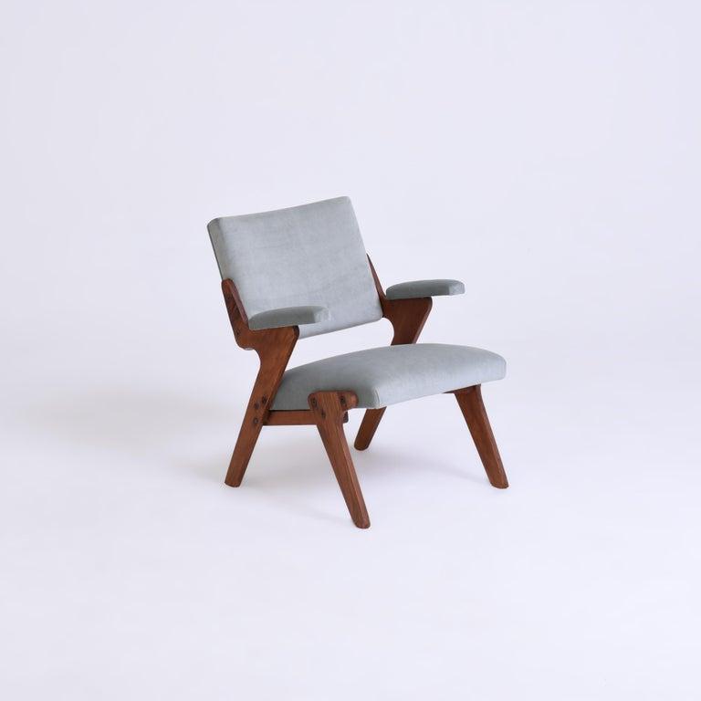 José Zanine Caldas midcentury armchair, Brazil, 1950s Plywood, velvet.