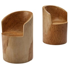 José Zanine Caldas Pair of Hand-Sculpted Chairs in Brazilian Hardwood