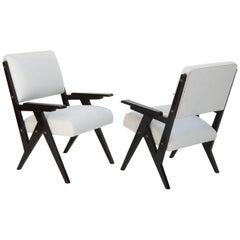 Jose Zanine de Caldas, Brazilian Black and White Midcentury Lounge Chairs, Pair