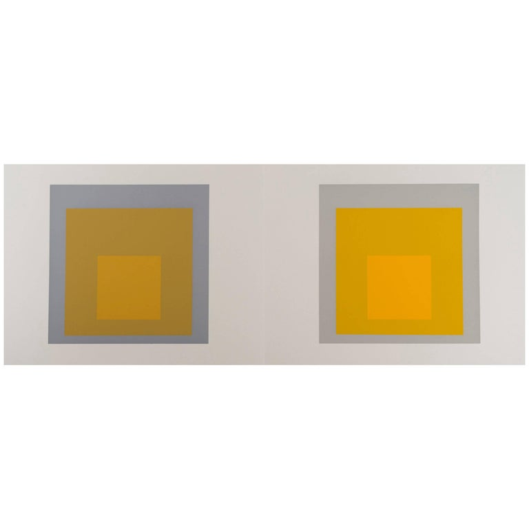 Josef Albers Homage to the Square Silk Screen Diptych For Sale