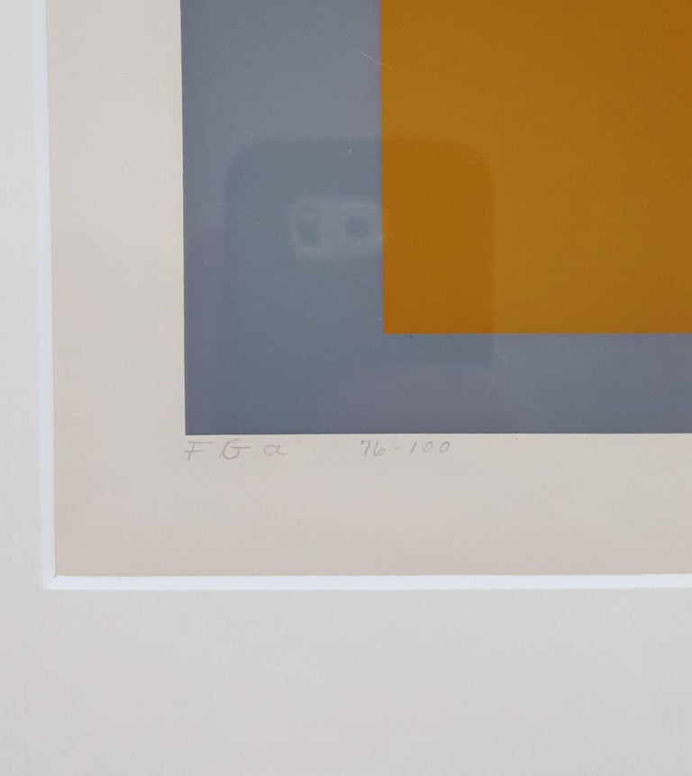 An original signed three color screenprint on cream Mohawk Superfine Bristol paper by German-American artist Josef Albers (1888-1976) titled