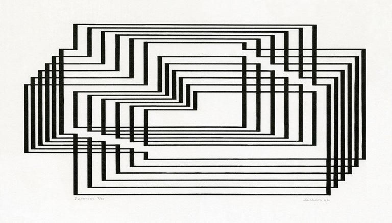 Josef Albers Abstract Print - 'Interim', from the series 'Graphic Tectonics'
