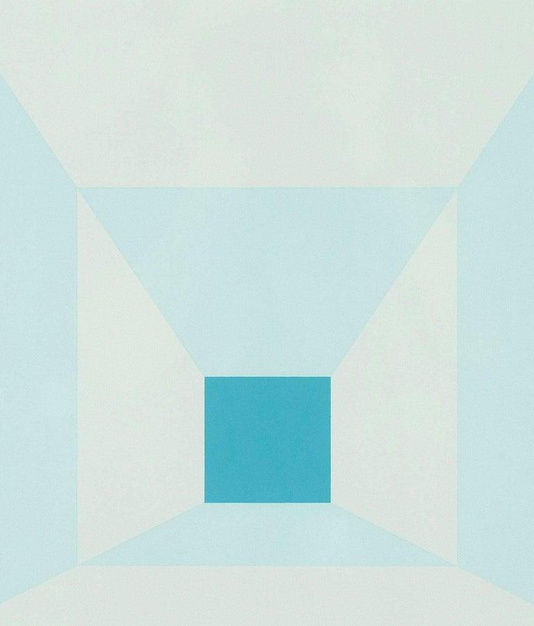 "Josef Albers ""Mitered Squares - Cold Teal"" Screenprint, 1976"