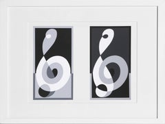 Musical Clefs from Formulation: Articulation, Framed Silkscreen by Josef Albers