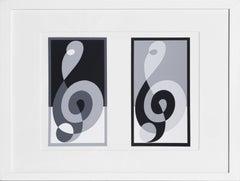 Musical Clefs from Formulation: Articulation, Framed Silkscreen by Josef Albers