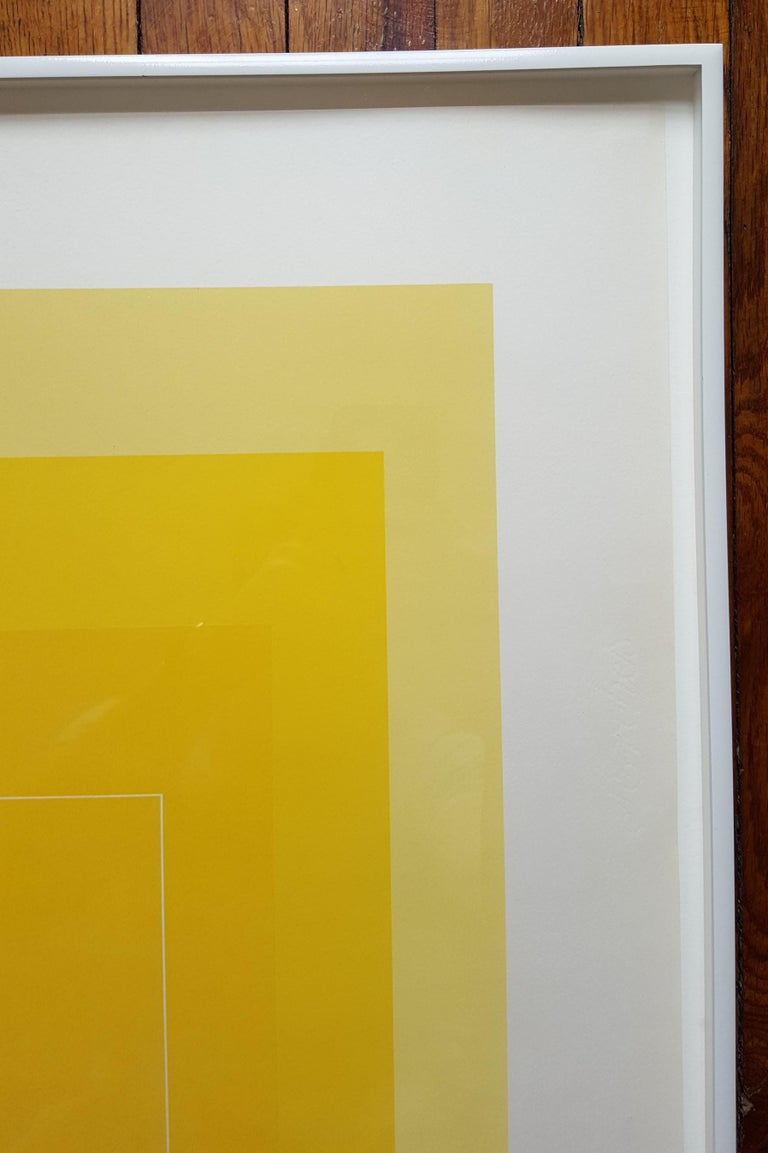 An original signed three color lithograph on handcut Arches paper by German-American artist Josef Albers (1888-1976) titled