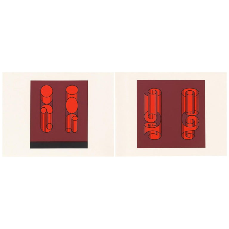 Josef Albers Screen Print Diptych from Formulation, Articulation For Sale