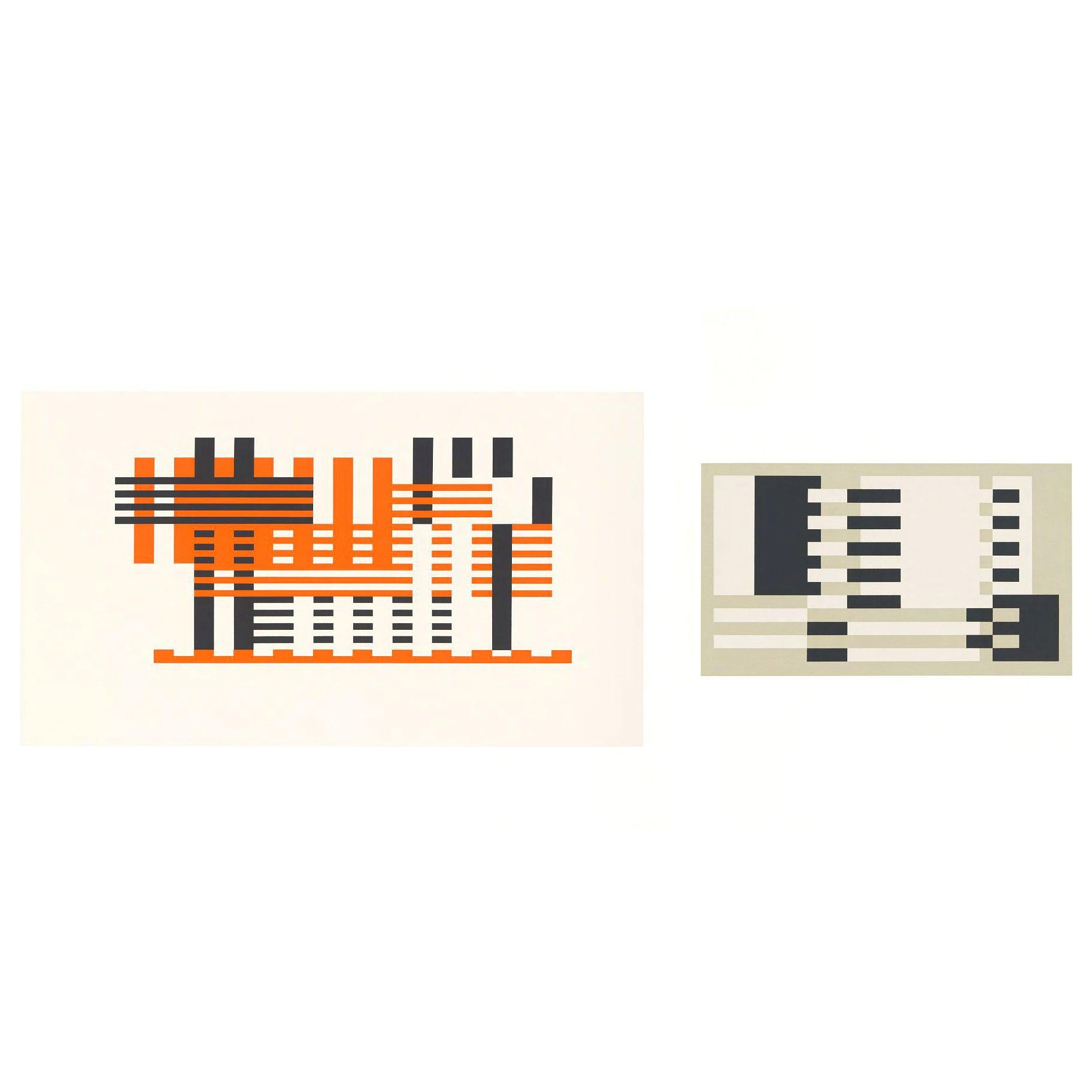 Josef Albers Screen Print Diptych from Formulation Articulation