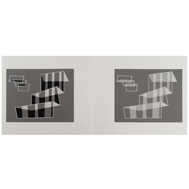 Josef Albers Silk Screen Diptych For Sale