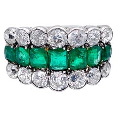 Josef Burgmann Vienna Antique Emerald Diamond Ring
