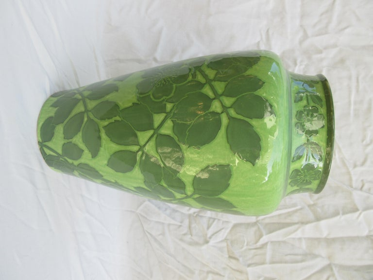 This is a handmade vase, the only one of its kind. Signed and dated, J-Ekberg 1907. A Swedish Artist that started working for the Gustavsberg Ceramic Foundry in Stockholm Sweden in 1898 and worked there till his death in 1945. 99.9% of his work was
