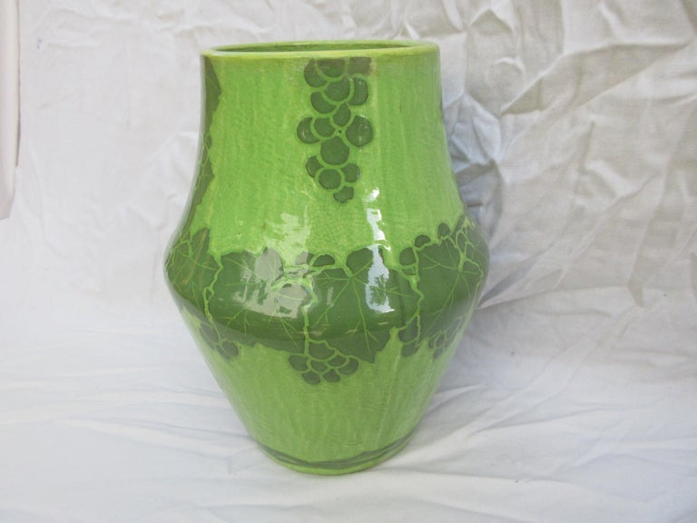 This is a handmade vase, this is a rare 2-tone green vase. The only one of its kind. Signed and dated, J-Ekberg 1907. A Swedish Artist that started working for the Gustavsberg Ceramic Foundry in Stockholm Sweden in 1898 and worked there till his