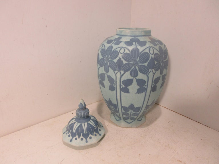 Art Nouveau Josef Ekberg Ceramic Lidded Vase For Sale