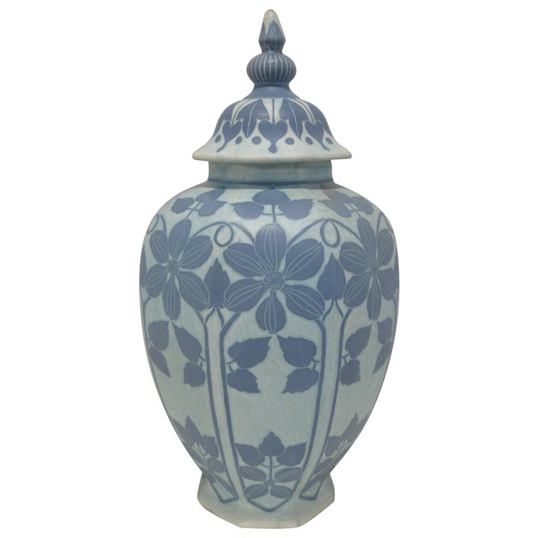Josef Ekberg Ceramic Lidded Vase For Sale
